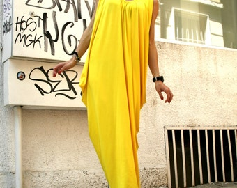 Yellow Summer  Asymmetric Kaftan / Maxi Dress / Loose sleeveless Kaftan by Aakasha A03004