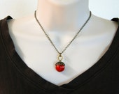 "Chain with Coral Pendant Necklace 16 1/4"" or 18 1/4"" / Earrings 40 mm"