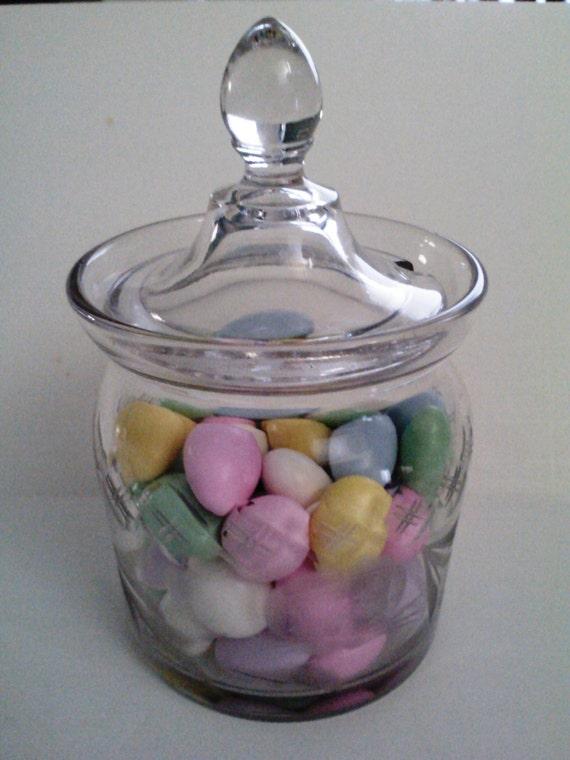 Vintage Honey or Candy Jar/ Etched Rose Cut Glass Jar//Wedding/ Condiment jar / Treasury Item