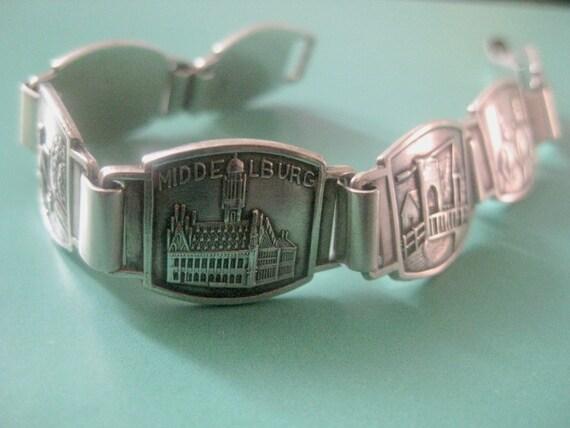 Vintage bracelet Silver, Souvenir Bracelet, Dutch Bracelet, friendship bracelet silver, dutch windmill, Middelburg Netherlands.