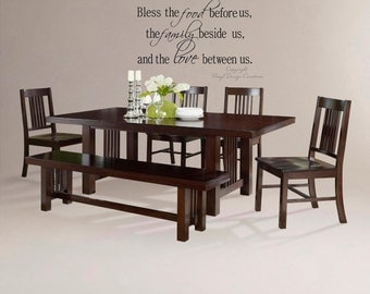 Wall Decal Bless the food before us, the family beside us and the love between us 20h x 36w- Large Vinyl Wall Decal -Wall Words