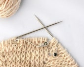 Silver Feather Knitting Tool Set With Larvikite Stones - Handmade in Sterling Silver