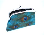 Beautiful Peacock feather teal frame wallet with kiss clasp and 2 compartments- black interior