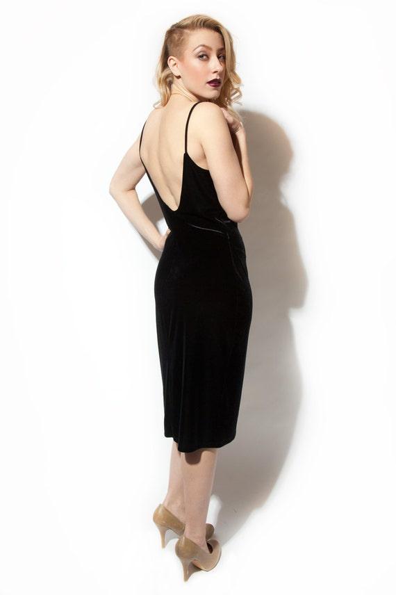 90s black faux velvet dress draped neckline backless SATC