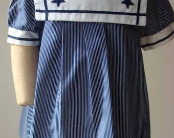 Girls Sailor Dress in Navy and White Stripes in 12 months  & Size 4