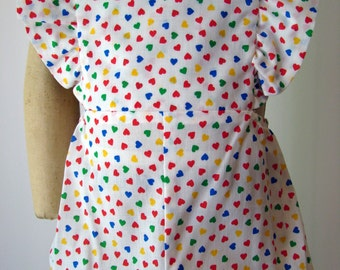 Girls Sunsuit with Multicolor Hearts - Size 6 months