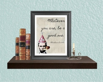 Graduation Gift - Inspirational Art - Digital Art Print - College Highschool - Wall Art - Last Minute Gift - Abraham Lincoln