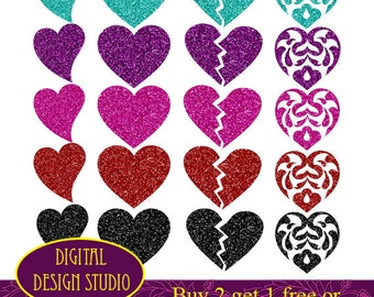 Glitter Hearts clip art set. INSTANT DOWNLOAD for Personal and commercial use.