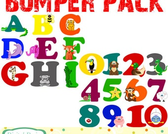 Animal Alphabet AND Number sets bumper pack. INSTANT DOWNLOAD for Personal and commercial use.