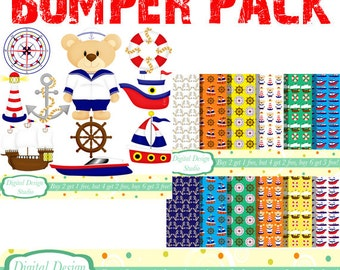 Nautical sailor clip art and paper bumper pack. INSTANT DOWNLOAD Personal and commercial use.