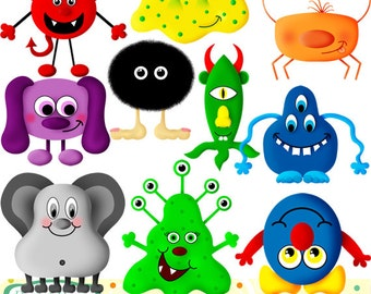 Cute Monsters clip art set, 10 designs. INSTANT DOWNLOAD for Personal and commercial use.