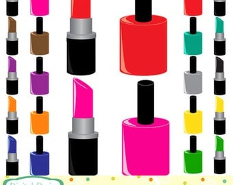 The 'Glam Pack' 20 Nail varnish and lipstick, clip art designs. INSTANT DOWNLOAD for Personal and commercial use.