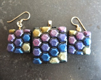 Dark disco - rainbow black geometric polymer clay pendant and earrings set with gold fittings