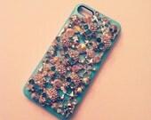 iPhone 5 Sugar Skulls Diamond Rhinestone 3D Tiffany Blue case