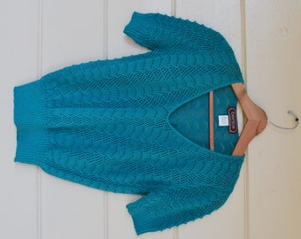 Vintage 80s Crocheted Sweater Women's Pullover Sweater by Bernice Creations Turquoise Sweater Jumper Size Small