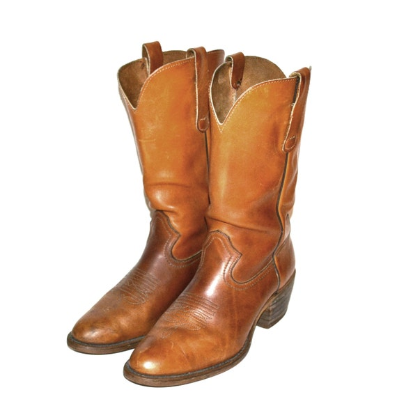 Vintage Men's Boots Camel Brown Leather Cowboy Boots Country Western Boots Size 11