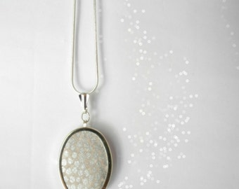 Silver grey metallic dots pendant, Bridesmaid jewelry, Wallpaper polka dots silver ,Silver Necklace