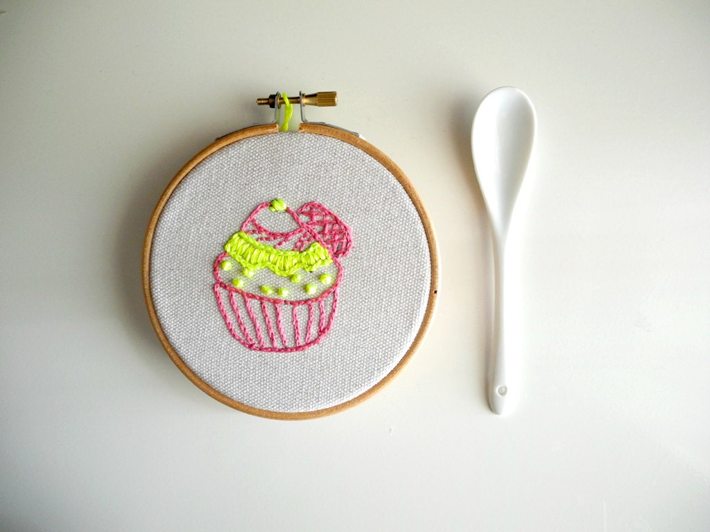 Neon cupcake ornament hand embroidery hoop wall by HoopsyDaisies
