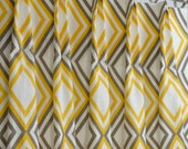 Yellow Kelp Taupe White Modern Contemporary Diamonds Annie Curtains - Pinch Pleat - 84 96 108 120 Long - Optional Blackout or Cotton Lining