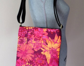 "Shoulder Sling / Crossbody Bag - ""Golden Dahlias"""