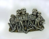 Ceramic Skeleton Row -8 1/2 inches long-hand painted, glowing front ribs, Halloween