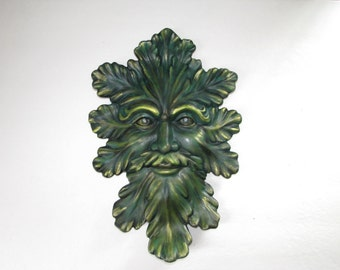 Ceramic Green Man Wall Hanging --14 inches, hand painted