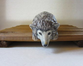 Ceramic Shelf Sitting Hedgehog - 6 inches - hand painted, decor, indoor or outdoor
