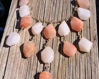 Faceted Peach Quartz Gold Statement Necklace