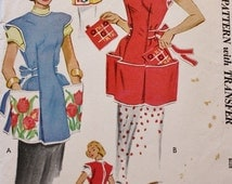 1950s Apron Pattern McCalls 1713 Womens Full Embroidered Cobbler Apron Patch Pockets Potholder Vintage Sewing Pattern Bust 32-34