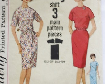 1960s Simplicity 4978 One Piece Jiffy Sheath Dress Vintage Sewing Pattern Bust 33
