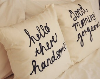 The ORIGINAL His and Hers Cushion Covers Set - Pick your 2 - handwriting typography quirky word pillow covers