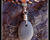 Kumihimo Necklace with Beach Stone Pendant and Sterling Silver Clasp