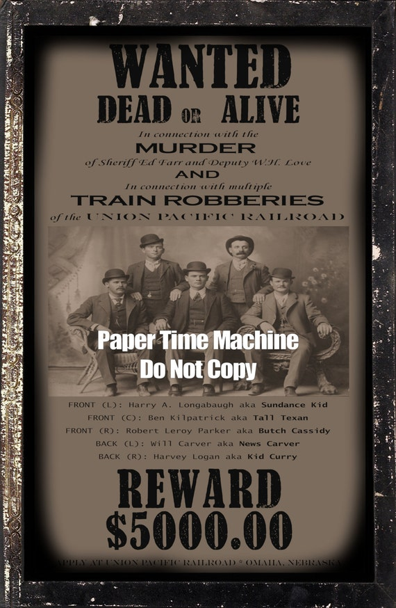 Butch Cassidy & Sundance Kid Wild Bunch WANTED Poster
