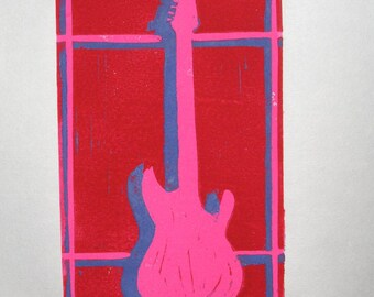 Pink Electric Guitar single-block reduction linocut print