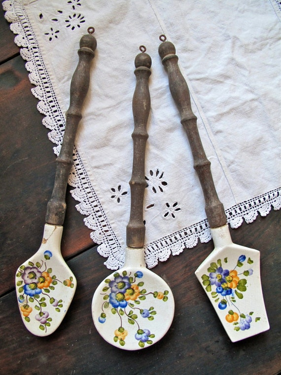 Vintage French kitchen utensils - ceramic and wood