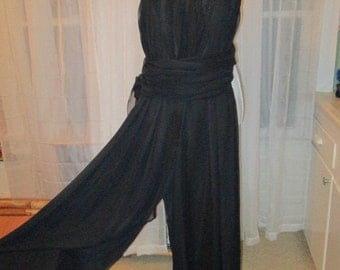 "STUNNING Vintage Disco Era 1970's Black Chiffon Halter Style Couture Jumpsuit ""Girls On Film"""