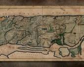 """Vintage Manhattan Island Metal Map - 48x14"""" FREE SHIPPING"""