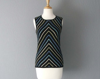 80s Geoffrey Beene Knitted Cotton Tank With Chevron Stripes