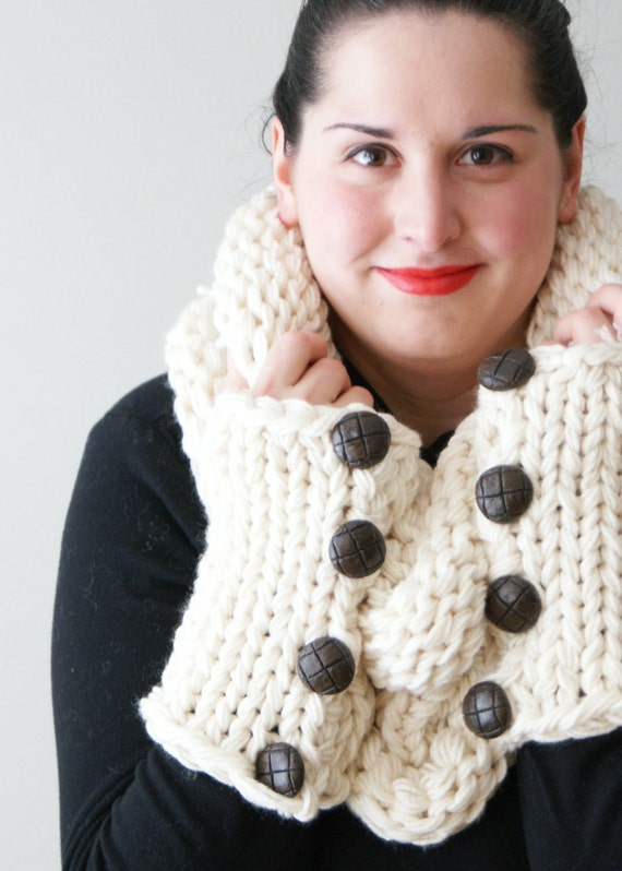 Arm Warmers Knitting Pattern Simple : DIY Knitting PATTERN Simple Chunky Knit Shawl Cowl and