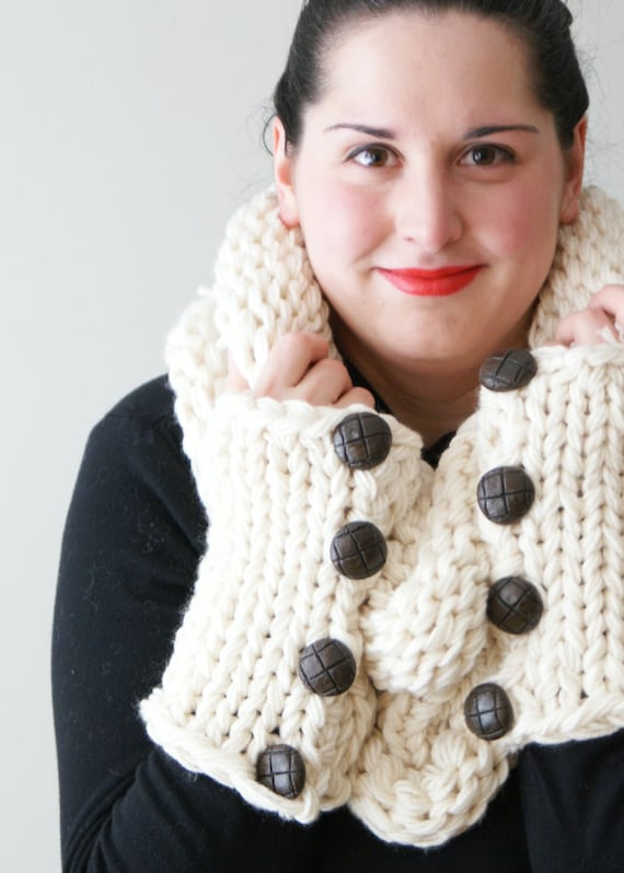 DIY Knitting PATTERN Simple Chunky Knit Shawl Cowl and