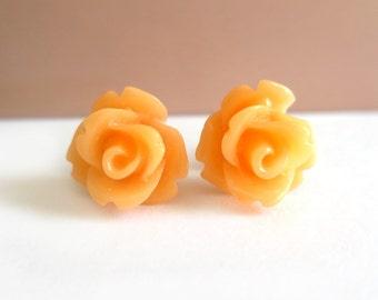 Light Orange Rose Earrings
