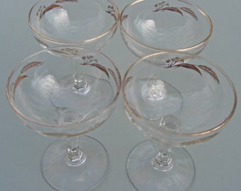 Lifetime China Homer Laughlin Prairie Gold Pattern - Set of 4 Sherbet Champagne Glasses 6 oz.