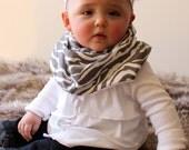 "Modern Bib (Gray Zebra) All in One Scarf & Bib ""Scabib"" TM for babies or toddlers"