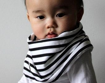 "Modern Bib (Black/White Stripes) All in One Scarf & Bib ""Scabib"" TM for babies or toddlers"