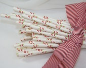 CHERRY Blossom Paper Straws -50- Cherry Pie Pop Sticks- Homemade Cherry Smoothie Topped with a CHERRY STRAW