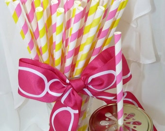 NEW PINK LEMONade SOCIAL Paper Straws 30 Lemonade Stand, Hot Pink and Lemon Yellow Striped Drinking Straws, Printable Flags -Party