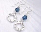 Blue Swarvoski Crystal Earring, Beaded Jewelry, Swarovski Jewelry, Sterling Silver Dangle, Crystal Drop Earrings, Hammered Jewelry