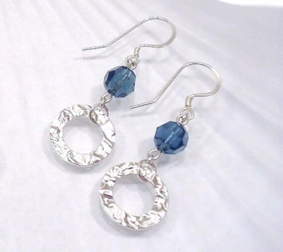Blue Dangle Earrings, Swarovski Crystal Earring, Beaded Jewelry, Swarovski Jewelry, Sterling Silver Dangle, Drop Earrings, Hammered Jewelry