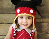 Mickey Mouse Earflap Hat (Crochet)