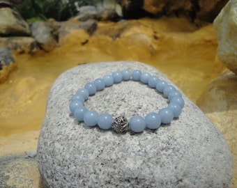 Angelite Stretch Bracelet with a Sterling Silver Accent Bead..